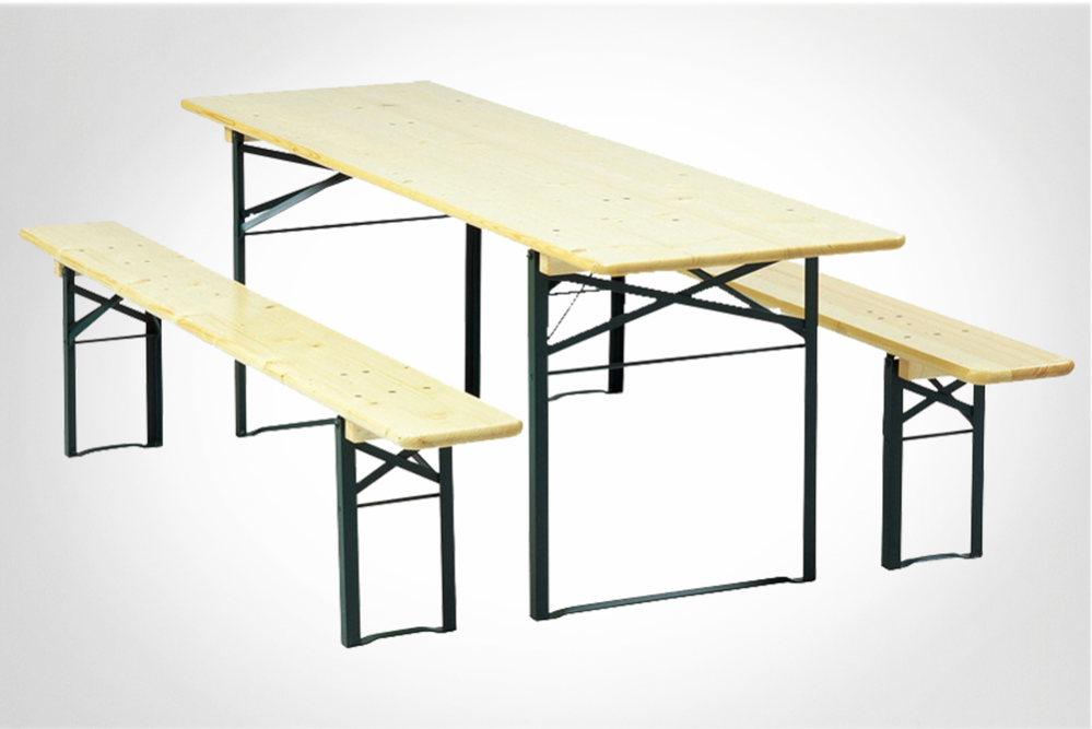 lej 1 stk bord 67x220 cm, 2 stk bænke 27x220 cm